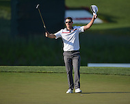 Bethesda, MD - June 29, 2014: Justin Rose reacts after winning the Quicken Loans National at the Congressional Country Club in Bethesda, MD, June, 29, 2014.   (Photo by Don Baxter/Media Images International)