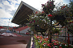 Flowers and hanging baskets at the Gateshead International Stadium, the athletics stadium which is also the home ground of Gateshead FC, pictured as the club play host to Cambridge United in a Blue Square Bet Premier division fixture. The match ended in a one-all draw, watched by a crowd of 904. The point meant Gateshead went to the top of the division, one below the Football League in England.