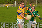 Finuges Raymond Galvin moves in on goal chased by St Michael/Foilmores Colm Granfield during their Intermediate Championship semi-final in Killorglin on Saturday.....   Copyright Kerry's Eye 2008