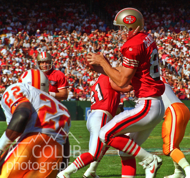 San Francisco 49ers vs. Tampa Bay Buccaneers at Candlestick Park Sunday, October 23, 1994.  49ers beat Buccaneers 41-16.   San Francisco wide receiver Ed McCaffrey (81). catches pass.