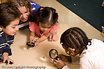 Preschool 4-5 year olds nature study with female teacher group of boys and girls looking at meal worms on tale holding magnifying glasses horizontal