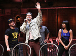 """Roddy Kennedy, Ryan Vasquez, Karla Garcia from the 'Hamilton' cast during a Q & A before The Rockefeller Foundation and The Gilder Lehrman Institute of American History sponsored High School student #EduHam matinee performance of """"Hamilton"""" at the Richard Rodgers Theatre on June 6, 2018 in New York City."""