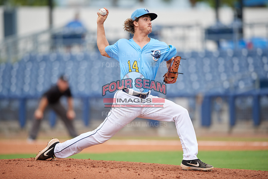 Charlotte Stone Crabs starting pitcher Joe Ryan (14) during a Florida State League game against the Bradenton Maruaders on August 7, 2019 at Charlotte Sports Park in Port Charlotte, Florida.  Charlotte defeated Bradenton 2-0 in the first game of a doubleheader.  (Mike Janes/Four Seam Images)