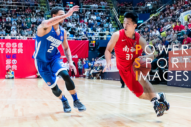 Lin Ho Chun #31 of SCAA Men's Basketball Team goes to the basket against the Eastern Long Lions during the Hong Kong Basketball League playoff game between SCAA and Eastern Long Lions at Queen Elizabeth Stadium on July 27, 2018 in Hong Kong. Photo by Yu Chun Christopher Wong / Power Sport Images