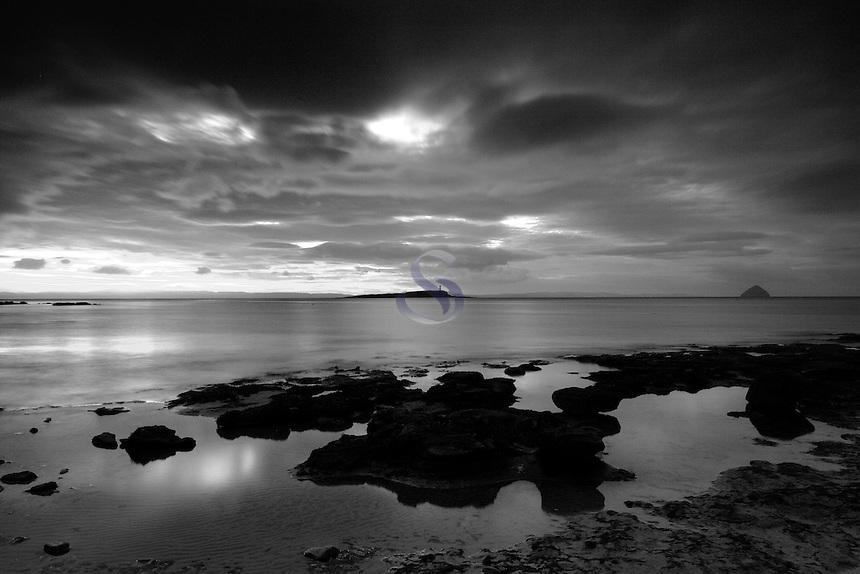 Pladda, Pladda Lighthouse and Ailsa Craig at dawnfrom Kildonan, Isle of Arran, Ayrshire