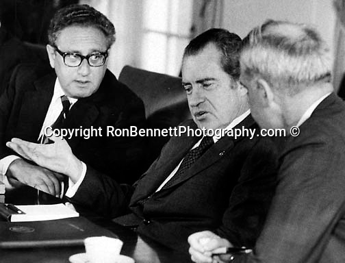 37th President of the United States Richard M. Nixon with Henry Kissinger and James Schlesinger in cabinet room of White House Washington,.C., Richard Nixon was born in Yorba Linda California and attended Whittier College and Duke University law school, US Navy House of Representatives and United States Senate, Vice President under Dwight D. Eisenhower, Impeachment for his role in Watergate scandal,