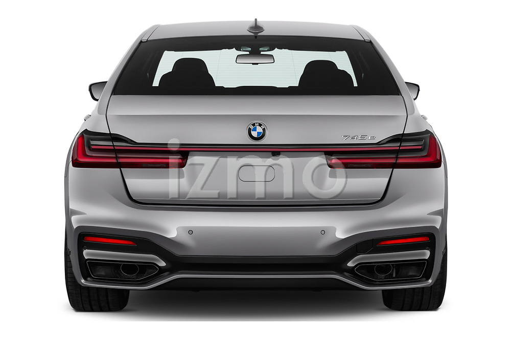 Straight rear view of a 2020 BMW 7-Series  M-Sport 4 Door Sedan stock images