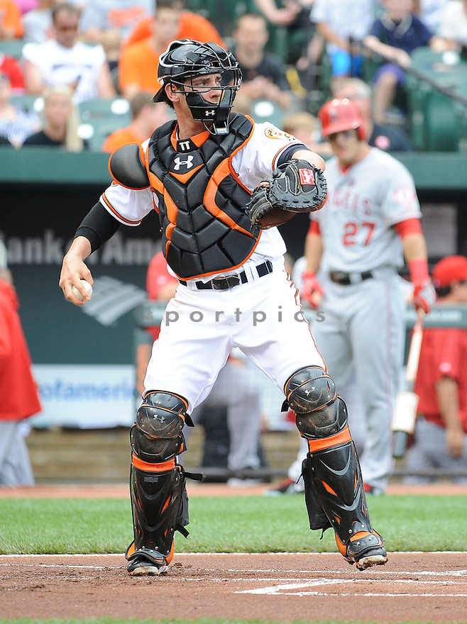Baltimore Orioles Taylor Teagarden (31) during a game against the Los Angeles Angels on June 12, 2013 at Orioles Park in Baltimore, MD. The Angels beat the Orioles 9-5.