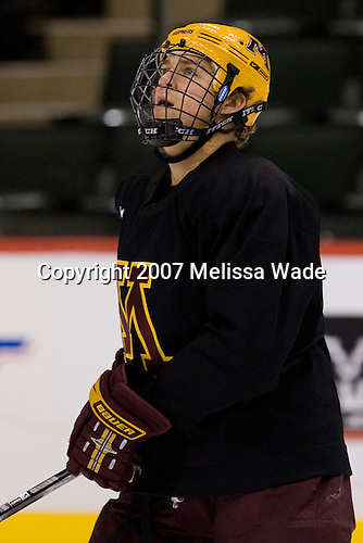 Brian Schack (Minnesota 27) takes part in the Gophers' morning skate at the Xcel Energy Center in St. Paul, Minnesota, on Friday, October 12, 2007, during the Ice Breaker Invitational.