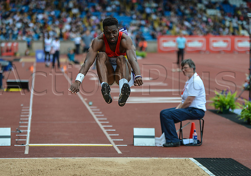 26.06.2016. Alexander Stadium, Birmingham, England. British Athletics Championships. Ifeanyi Otuonye jumping to 2nd place in the Long Jump.