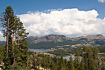 Summer storm build over Thunder Mountain and Thimble Peak over Silver Lake, Amador County, Calif.