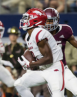 Hawgs Illustrated/Ben Goff<br /> Mike Woods, Arkansas wide receiver, catches a pass for a 29-yard touchdown in the 4th quarter vs Texas A&M Saturday, Sept. 29, 2018, during the Southwest Classic at AT&T Stadium in Arlington, Texas.