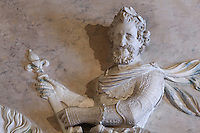 Detail of relief of Henri IV, 1553-1610, on horseback, 1600-01, by Jacquet Mathieu, 1545-1611, on the Belle Cheminee in the Grands Appartements, Chateau de Fontainebleau, France. The Palace of Fontainebleau is one of the largest French royal palaces and was begun in the early 16th century for Francois I. It was listed as a UNESCO World Heritage Site in 1981. Picture by Manuel Cohen