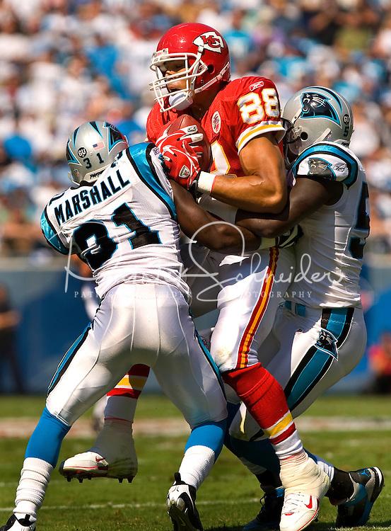 Carolina Panthers cornerback Richard Marshall (31) hits Kansas City Chiefs tight end Tony Gonzalez (88) during a NFL football game at Bank of America Stadium in Charlotte, NC.