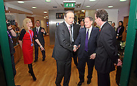 08/02/'11 Fianna Fail leader Micheál Martin pictured leaving this evening at TV3, Ballymount Dublin where they participated in the first televised leader's debate of Election 2011...Picture Colin Keegan, Collins, Dublin.