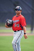 GCL Twins Ramon Borrego (24) during the first game of a doubleheader against the GCL Rays on July 18, 2017 at Charlotte Sports Park in Port Charlotte, Florida.  GCL Twins defeated the GCL Rays 11-5 in a continuation of a game that was suspended on July 17th at CenturyLink Sports Complex in Fort Myers, Florida due to inclement weather.  (Mike Janes/Four Seam Images)