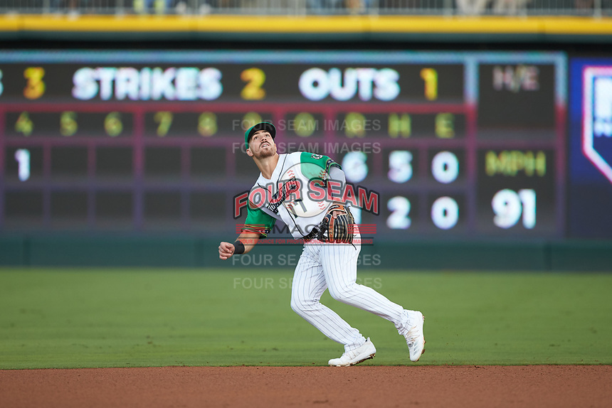 Caballeros de Charlotte second baseman Danny Mendick (17) on defense against the Buffalo Bisons at BB&T BallPark on July 23, 2019 in Charlotte, North Carolina. The Bisons defeated the Caballeros 8-1. (Brian Westerholt/Four Seam Images)