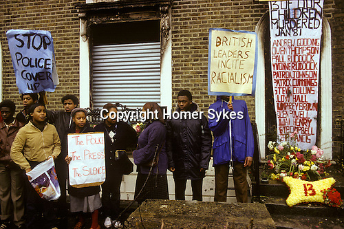 NEW CROSS FIRE, SOUTH LONDON 1981 PEOPLE DEMONSTRATE ABOUT THE DEATH OF 13 YOUNG BLACK PEOPLE, POLICE BLAMED FOR IT., 1981 The New Cross Fire was a devastating house fire which killed 13 young black people during a birthday party in New Cross, southeast London on Sunday 18 January 1981. Some were shocked by what they perceived as the indifference of the white population, and accused the London Metropolitan Police of covering up the cause, which they suspected was an arson attack motivated by racism; the protests arising out of the fire led to a mobilisation of black political activity. Nobody has ever been charged in relation to the fire