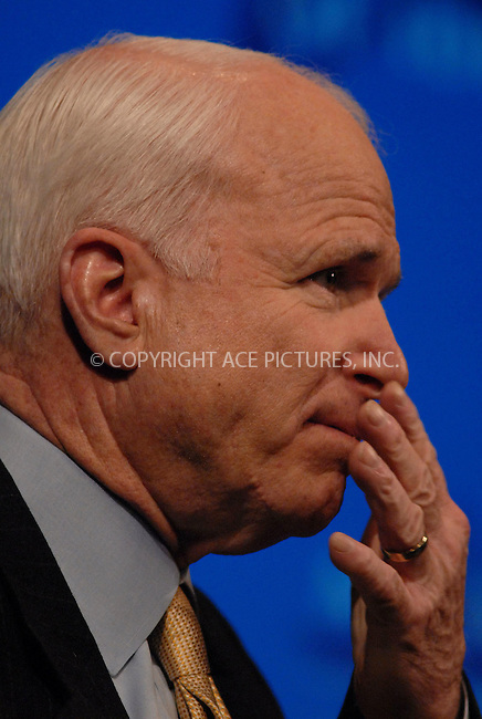 WWW.ACEPIXS.COM............March 8 2007, New York City....U.S. Senator John McCain (R-AZ) speaks at the McCain Exchange Forum at the Millenium Broadway hotel as he continues his 2008 Presidential Campaign.......Byline:  KRISTIN CALLAHAN - ACEPIXS.COM....For information please contact:....Philip Vaughan, 212 243 8787 or 646 769 0430..Email: info@acepixs.com..Web: WWW.ACEPIXS.COM