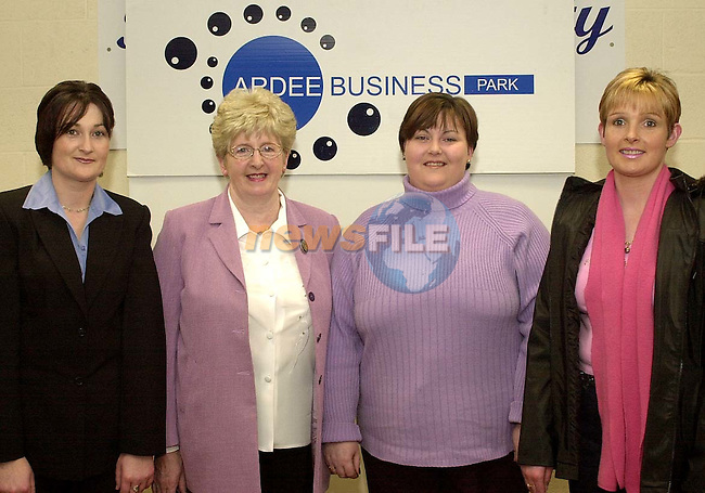 L/r : Sharon Mc Hugh, Breedeen O' Callaghan, Sandra Carey and Pauline O' Callaghan when they were presented with their E.C.D.L. certificates on completion of their courses in Ardee Business Park.