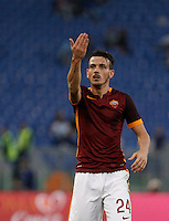 Calcio, Serie A: Roma vs Lazio. Roma, stadio Olimpico, 8 novembre 2015.<br /> Roma's Alessandro Florenzi gestures during the Italian Serie A football match between Roma and Lazio at Rome's Olympic stadium, 8 November 2015.<br /> UPDATE IMAGES PRESS/Isabella Bonotto