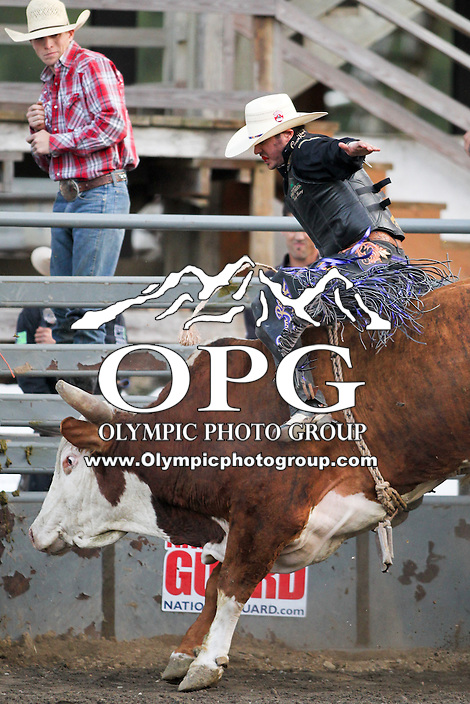 20 Aug 2014:  Wesley Silcox was not able to score while competing in the Seminole Hard Rock Extreme Bulls competition at the Kitsap County Stampede in Bremerton, Washington.