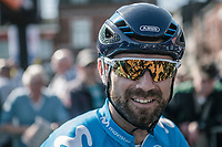 Alejandro Valverde (ESP/Team Movistar) waiting the pre race team presentation. <br /> <br /> 82nd La Fl&egrave;che Wallonne 2018<br /> 1 Day Race: Seraing - Huy (198,5km)