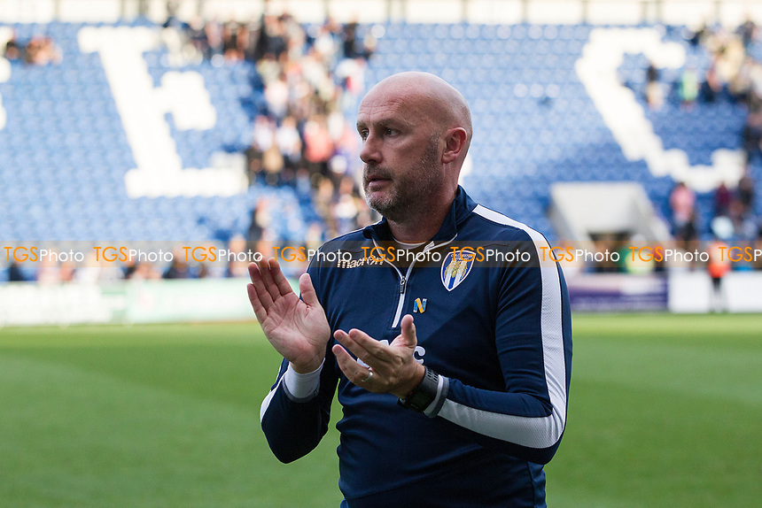 John McGreal, Manager of Colchester United applauds the crowd after his teams victory during Colchester United vs Crawley Town, Sky Bet EFL League 2 Football at the JobServe Community Stadium on 13th October 2018