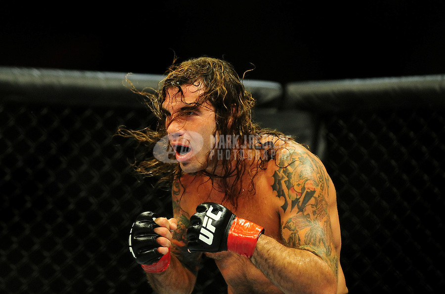 "Aug. 7, 2010; Oakland, CA, USA; UFC fighter Clay Guida during the lightweight ""swing"" bout in UFC 117 at the Oracle Arena. Mandatory Credit: Mark J. Rebilas"