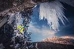 "Pictured: A snowboarder makes an impressive leap in the air as he ""drops in"" on a frozen waterfall in the direction of deadly looking icicles.   <br /> <br /> Photographer Christoph Jorda was out with his twin brother, Matthias, when he captured this extreme scene at the Haselgaehr waterfall near the village of Ehrwald, Austria. <br /> <br /> Christoph said: ""We had been waiting for a couple years for enough snow so we could attempt this jump at the Haselgaehr waterfall."" <br /> <br /> He explained that snowboarders who attempt this jump have to make a quick and accurate manoeuvre to avoid falling into icy water the other side.<br /> <br /> ""The riders need to make the landing and stop.  If not, they would have fallen down another step of the waterfall in to a pool of freezing cold water and ice.""  <br /> <br /> Christoph, who was behind the camera for this extreme stunt, said: ""You watch the action through the camera lens and you pray that your equipment is working and that nobody will get hurt or worse.""<br /> <br /> Please byline: Christoph Jorda/Solent News<br /> <br /> © Christoph Jorda/Solent News & Photo Agency<br /> UK +44 (0) 2380 458800"