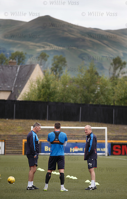 Rangers team arrives at Alloa's Indodrill Stadium to train on their synthetic surface ahead of the match on Sunday, Jim Stewart, Danny Wilson and Mark Warburton