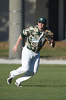 Slippery Rock outfielder Brandon Myers (9) during warmups before a game against Upper Iowa University at Frank Tack Field on March 14, 2014 in Clearwater, Florida.  Slippery Rock defeated Upper Iowa 14-9.  (Mike Janes/Four Seam Images)