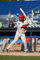 Auburn Doubledays center fielder Daniel Johnson (30) at bat during the second game of a doubleheader against the Batavia Muckdogs on September 4, 2016 at Dwyer Stadium in Batavia, New York.  Batavia defeated Auburn 6-5. (Mike Janes/Four Seam Images)