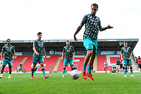 Yan Dhanda of Swansea City during the pre-match warm-up for the pre season friendly match between Exeter City and Swansea City at St James Park in Exeter, England, UK. Saturday, 20 July 2019