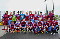 Aaron Connolly (At age 14) of Mervue United U14, front row, third from left, celebrates winning the U14 Connacht Cup with his teammates and coaches.<br /> <br /> 3/5/14, Mervue United v Castlebar Celtic, U14 Connacht Cup Final, Moyne Villa FC, Headford, Co. Galway.