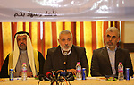 Hamas leader Ismail Haniya speaks during a meeting with heads of Palestinian families in Gaza city on December 26, 2017. Photo by Ashraf Amra