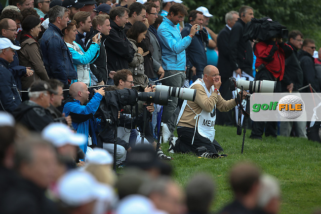 The media dead on line with Fabrizio Zanotti (PAR) possible winning putt during the Final Round of the BMW International Open 2014 from Golf Club Gut Lärchenhof, Pulheim, Köln, Germany. Picture:  David Lloyd / www.golffile.ie