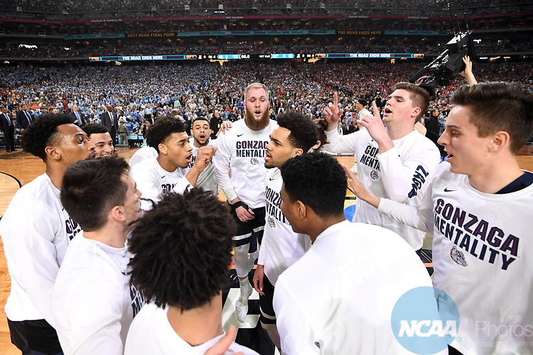 GLENDALE, AZ - APRIL 03:  Gonzaga Bulldogs huddle up prior to taking the court for tip-off during the 2017 NCAA Men's Final Four National Championship game at University of Phoenix Stadium on April 3, 2017 in Glendale, Arizona.  (Photo by Jamie Schwaberow/NCAA Photos via Getty Images)