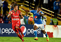 BOGOTA - COLOMBIA - 20 – 05 - 2017: Harold Mosquera (Der.) jugador de Millonarios disputa el balón con Nicolas Carreño (Izq.) jugador de Patriotas F.C., durante partido de la fecha 19 entre Millonarios y por la Liga Aguila I-2017, jugado en el estadio Nemesio Camacho El Campin de la ciudad de Bogota. / Harold Mosquera (R) player of Millonarios vies for the ball with Nicolas Carreño (L) player of Patriotas F.C., during a match of the date 19th between Millonarios and Patriotas F.C., for the Liga Aguila I-2017 played at the Nemesio Camacho El Campin Stadium in Bogota city, Photo: VizzorImage / Luis Ramirez / Staff.