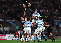 Argentina's Tomas Lavanini and England's George Kruis  compete for the ball in the line out <br /> <br /> Photographer Rachel Holborn/CameraSport<br /> <br /> International Rugby Union Friendly - Old Mutual Wealth Series Autumn Internationals 2017 - England v Argentina - Saturday 11th November 2017 - Twickenham Stadium - London<br /> <br /> World Copyright &copy; 2017 CameraSport. All rights reserved. 43 Linden Ave. Countesthorpe. Leicester. England. LE8 5PG - Tel: +44 (0) 116 277 4147 - admin@camerasport.com - www.camerasport.com