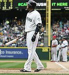 Seattle Mariners'  Nelson Cruz readies to bat against the Los Angeles Angels in  the season home opener April 6, 2015 at Safeco Field in Seattle.  The Mariners beat the Angels 4-1.    ©2015. Jim Bryant Photo. ALL RIGHTS RESERVED.