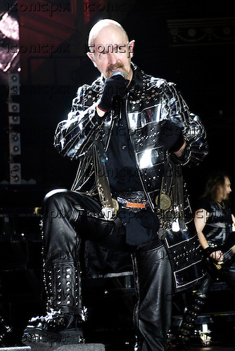 Judas Priest - vocalist Rob Halford - performing live in concert at the benefit for the Teenage Cancer Trust held at the Royal Albert Hall in London UK - 31 March 2006.  Photo credit: George Chin/IconicPix