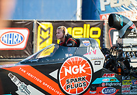 Nov 11, 2018; Pomona, CA, USA; NHRA top alcohol dragster driver Julie Nataas during the Auto Club Finals at Auto Club Raceway. Mandatory Credit: Mark J. Rebilas-USA TODAY Sports