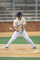 Joey Rodriguez (8) of the Wake Forest Demon Deacons at bat against the Harvard Crimson at David F. Couch Ballpark on March 5, 2016 in Winston-Salem, North Carolina.  The Crimson defeated the Demon Deacons 6-3.  (Brian Westerholt/Four Seam Images)