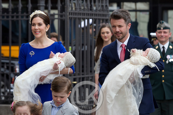 Crown Prince Frederik, and Crown Princess Mary, Prince Christian, and Princess Isabella, arrive for .the Christening of the Danish Royal Twins, at Holmens Church, Copenhagen..The twins were christened, Prince Vincent Frederik Minik Alexander and Princess Josephine Sophia Ivalo Mathilda