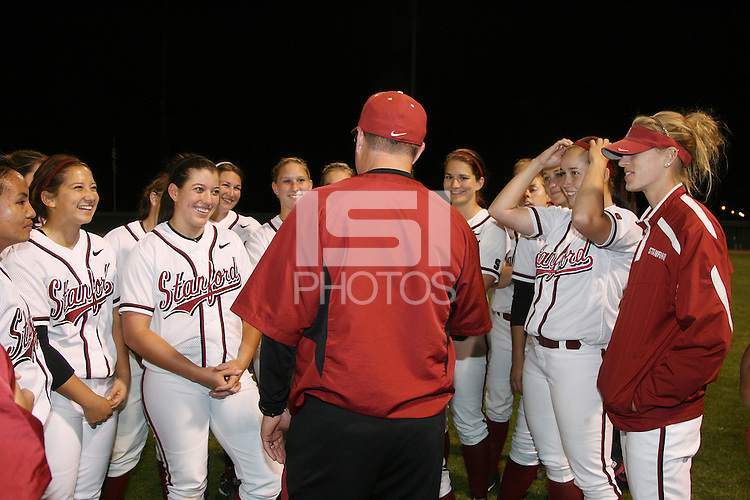 11 April 2008: Stanford Cardinal (not in order) head coach John rittman, Maddy Coon, Melisa Koutz, Alissa Haber, Ashley Chinn, Missy Penna, Becky McCullough, Autumn Albers, Rosey Neill, Michelle Smith, Erikka Moreno, Erin Howe, Jess Zutz, Tricia Aggabao, Brittany Minder, Michelle Schroeder, Shannon Koplitz, Anna Beardman, assistant coach Trisha Ford, assistant coach Jessica Allister, volunteer assistant coach Mick Myrback, and athletic trainer Christina Puno during Stanford's 10-1 win against the Oregon State Beavers at the Boyd and Jill Smith Family Stadium in Stanford, CA. Rittman recorded his 500th career victory.