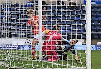 Cameron McGeehan of Luton Town tries to force the ball into the back of the net during the Sky Bet League 2 match between Wycombe Wanderers and Luton Town at Adams Park, High Wycombe, England on 6 February 2016. Photo by Liam Smith.