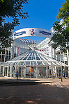 Modern glass and steel architecture of the Buttermarket shopping centre in the town centre of Ipswich, Suffolk, England