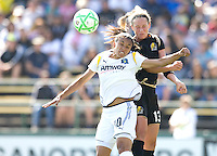 24 May 2009: Marta of the Los Angeles Sol battles for the ball in the air against Kristen Graczyk of the FC Gold Pride during the game at Buck Shaw Stadium in Santa Clara, California.  Los Angeles Sol defeated FC Gold Pride, 2-0.