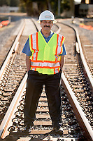 Farhad Mansourian, general manager of Sonoma-Marin Area Rail Transit (SMART), at the Adobe Lumber/Lagunitas Spur that serves local industry, freight and eventually passenger trains in Petaluma, Calif., on December 19, 2013. (Alvin Jornada / The Press Democrat)